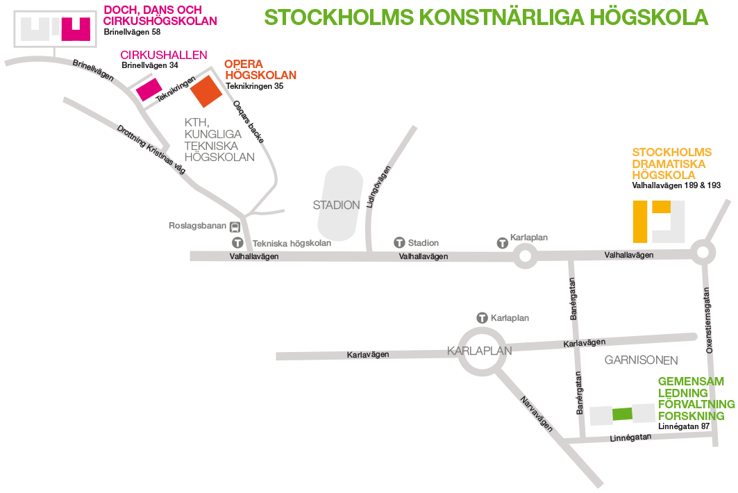 A map showing the layout of Stockhom Univeristy of the Arts and its schools