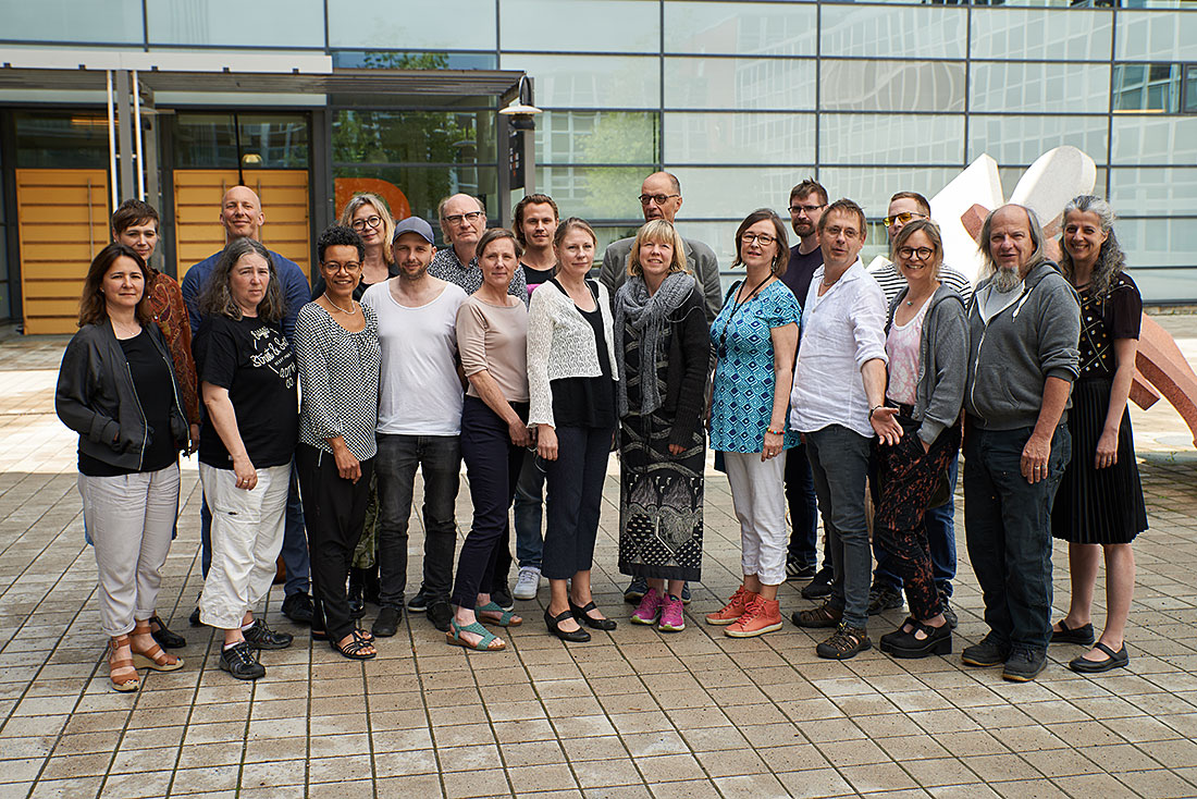 A group photo of all staff at the Department of Film and Media