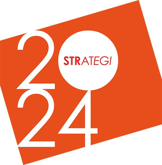 En orange logotyp med texten Strategi 2024